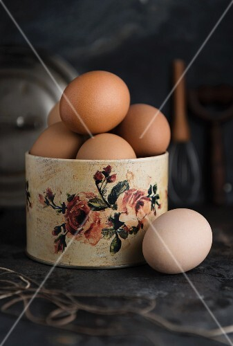 Eggs in a rose-patterned container