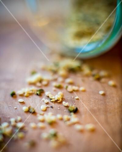 A close up of hemp seeds