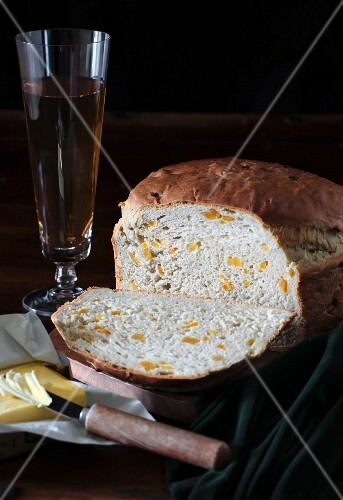 Irish Barmbrack bread with dried apricots and butter