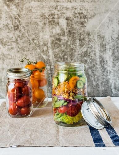 A jar of vegetable salad