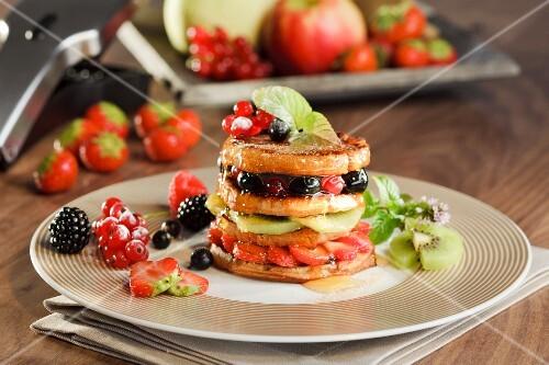 A sweet pancake fruit tower