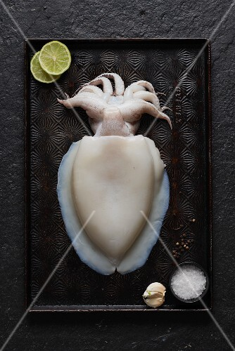 Fresh squid, lime slices, garlic and salt