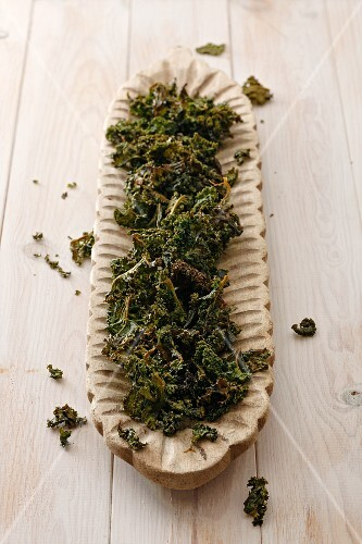 Kale chips in a long dish