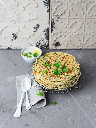 Savoury spinach waffles with tzatziki