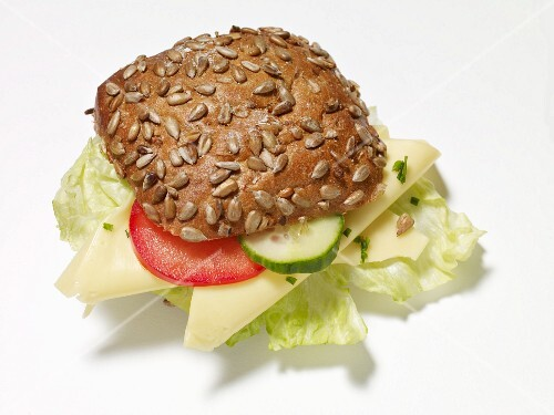 A sunflower seed roll with Gouda