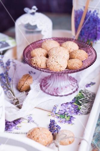 Gluten-free hazelnut macaroons and lavender decorations