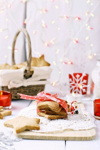 Christmas shortbread cookies with white and red decorations