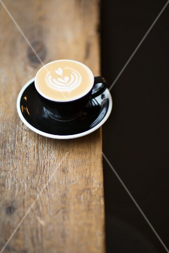 A cappuccino in the coffee roasting house 'The Barn', Berlin, Germany