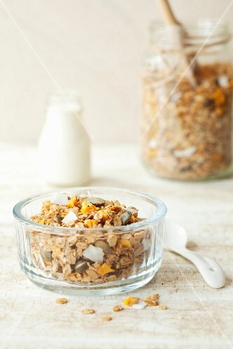 Homemade mango and coconut muesli