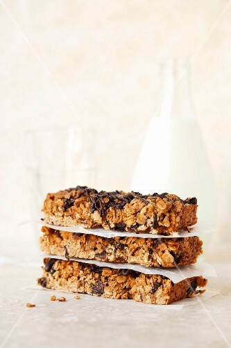 A stack of muesli bars with chocolate and brown sugar