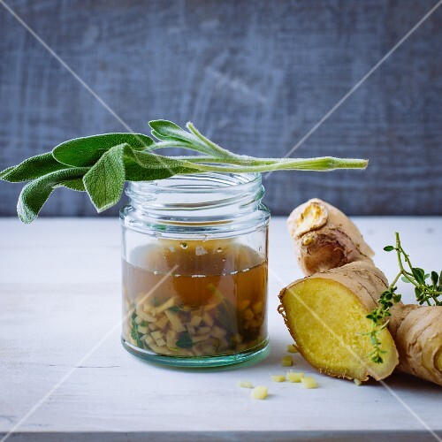 An immune smoothie made form ginger, sage and birch leaf elixier