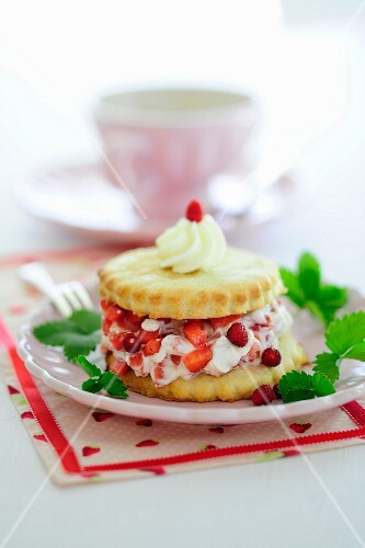 Strawberry shortcake with wild strawberries and cream (England)