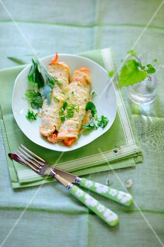 Spring crepes with crab meat and fresh herbs