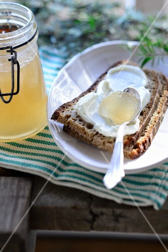 Bread with quark and pine jelly