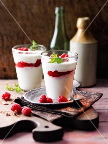 raspberry and marzipan cream with goat's yoghurt à la Hildegard von Bingen