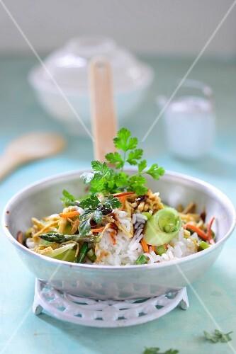 Asian stir-fry with rice