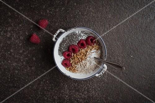 Muesli with yoghurt, raspberries, chia seeds and buffalo worms