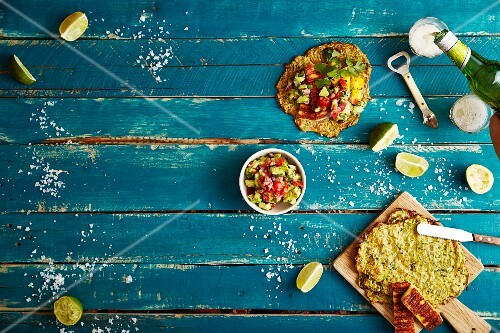 Soft shell tacos with courgette, halloumi, mango salsa and smoked pepper guacamole (Mexico)