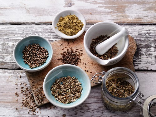 Ingredients for bread spices with moringa leaf powder