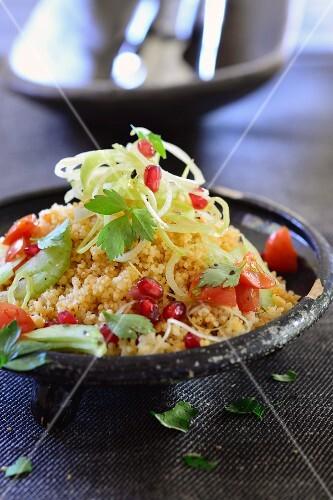 Bulgur salad with pomegranate seeds