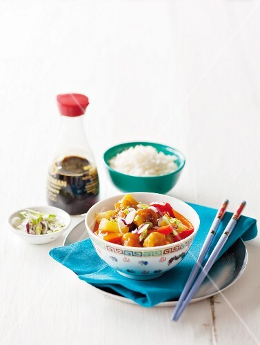 Sweet-and-sour pork with rice and soy sauce (China)
