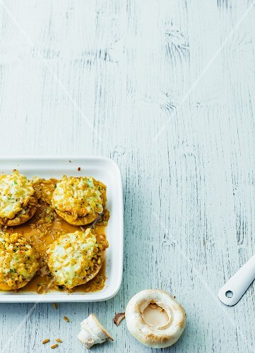 Oven-baked stuffed giant mushrooms with kamuth