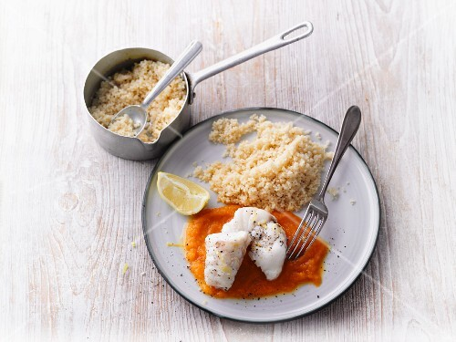 Monkfish with couscous and carrot purée
