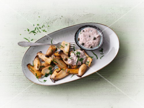 King trumpet mushrooms with a tuna fish and caper sauce
