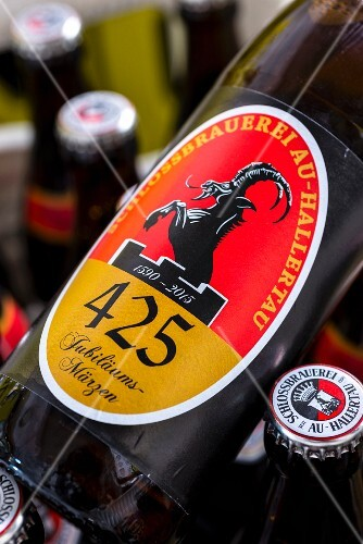 A bottle of beer at the Schlossbrauerei Au, Jubiläumsmärzen, Bavaria, Germany