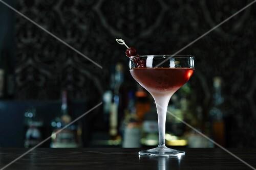 Manhattan Perfect cocktail on a bar