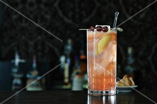 Singapore Sling cocktail on a bar