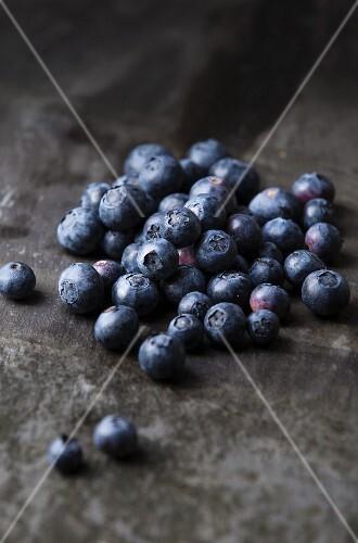 Blueberries on a slate platter