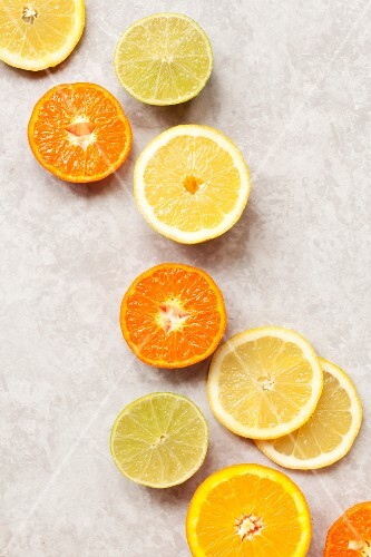 Various sliced citrus fruits