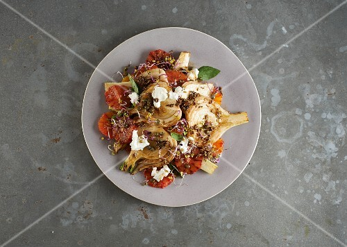 Fennel salad with blood oranges, feta cheese and bean sprouts
