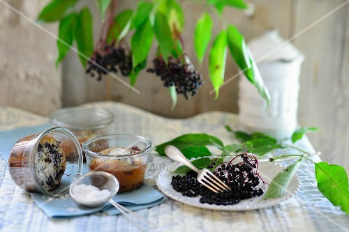 Clafoutis with elderberries in a bowl