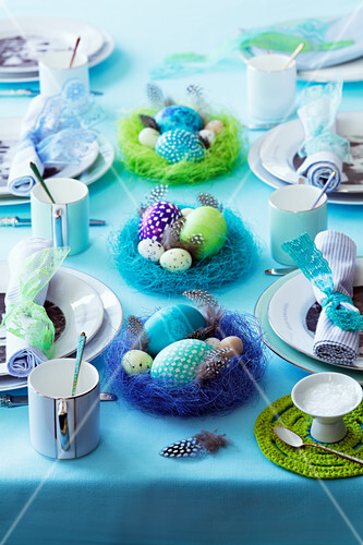 A table laid in turquoise for an Easter breakfast
