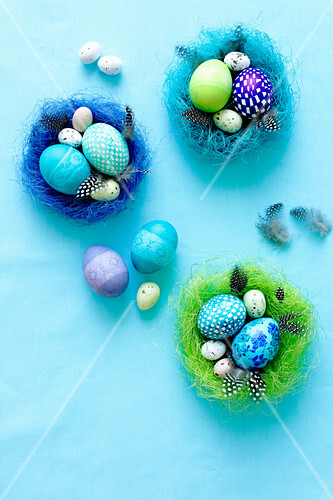 Easter eggs in Easter nests