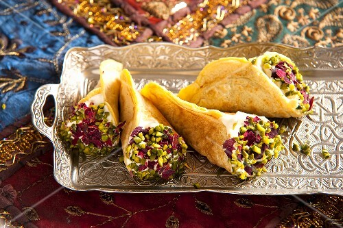 Quataif (stuffed pancakes, Arabia) with pistachios