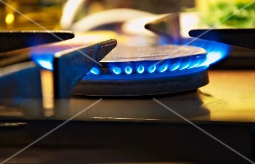 A gas hob (close-up)