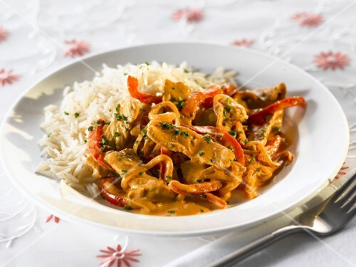 Pork with peppers and rice