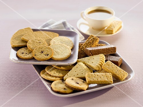Various biscuits and a cup of tea