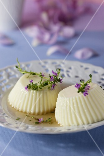 Panna cotta with thyme syrup