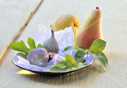 An arrangement of pears and figs