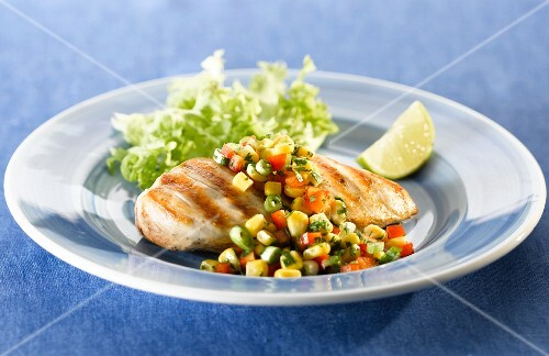 Grilled chicken breast with a sweetcorn salsa