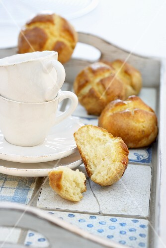 Brioches and coffee cups
