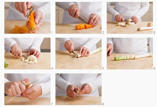 Suppengemüse vorbereiten