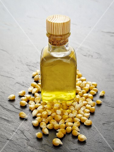 Corn oil and corn kernels