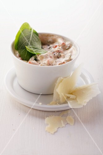 A vegetable dip with Parmesan cheese