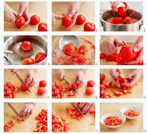 Tomatoes being blanched, the skin removed and then chopped