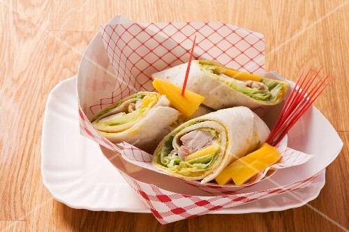 Chicken, curry and mango wraps